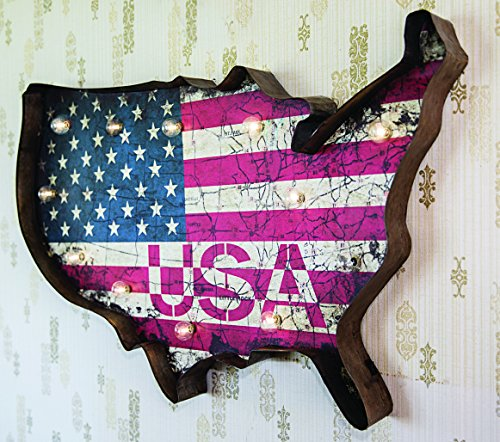 Metal Lighted LED, Patriotic USA Sign Wall Décor, Battery Operated