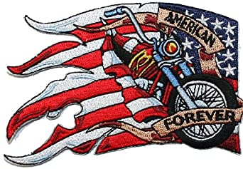Amazon.com: American Flag Biker Forever Embroidered Iron