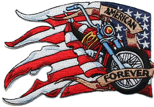 American Flag Biker Forever Embroidered Iron On Motorcycle Patch