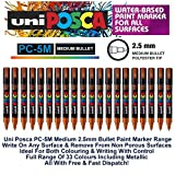 Uni Posca PC-5M Bronze Colour Paint Marker Pens 2.5mm Medium Bullet Tip Nib Writes On Any Surface Metal Glass Wood Fabric Plastic Stone (Pack Of 1)