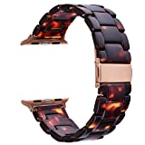 V_moro Compatible 38mm 40mm Apple Watch Band Women Men- Fashion Resin iWatch Band Bracelet with Copper Stainless Steel Buckle for Apple Watch Series 4 Series 3 Series 2 Series 1 (Tortoise-Tone, 38mm) (Color: 1*Tortoise-tone, Tamaño: 38mm(5''-7.67''))