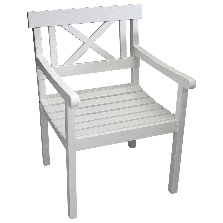 Gartensessel Gartenstuhl aus FSC zertifiziertem Eukalyptusholz 63×64,5x87cm – weiß im Landhausstil / Küchenstuhl Esszimmerstuhl Gartenmöbel Terrassenmöbel Balkonmöbel online bestellen