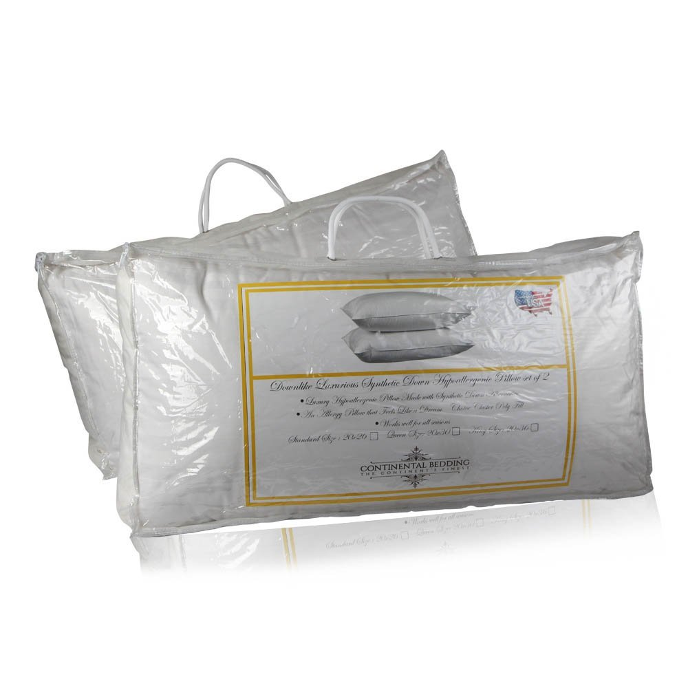 Downlike Luxurious Synthetic Down Hypoallergenic Pillow By Continental Bedding (2, Standard)
