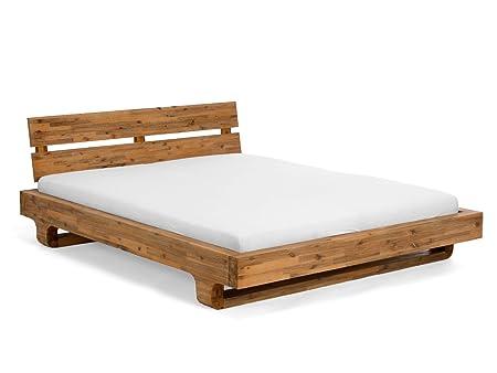 Bett 180x200 aus massivem Akazienholz mit abgerundetem