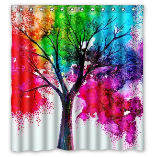 Waterproof Bathroom Fabric Shower Curtain, Watercolor Autumn Tree Art Colorful Rainbow Tree Four Season Print Design 66