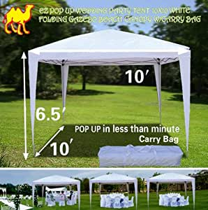 strong camel ez pop up wedding party tent 10 39 x10 39 folding gazebo beach canopy w. Black Bedroom Furniture Sets. Home Design Ideas