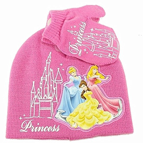 Disney Princess Toddler Girl's Medium Pink Knit Beanie & Hat Set Sz. 2-4T