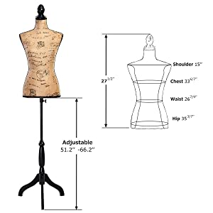 COSTWAY Female Mannequin Torso Body Form with Black Tripod Stand, Adjustable Height Non-Straight Pinnable for Pants Clothing Dress Jewelry Display (Brown), As The Picture Shows (Color: As the Picture Shows)