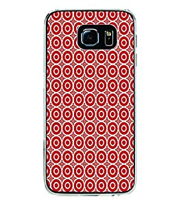 ifasho Animation Clourful white Circle on red background Pattern Back Case Cover for Samsung Galaxy S6