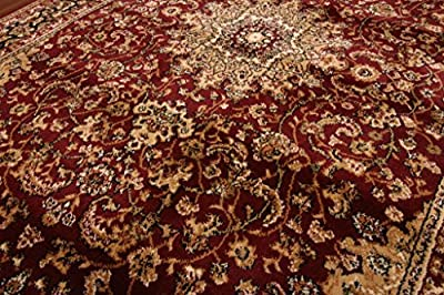 Feraghan Burgundy Red Traditional Isfahan Wool Persian Area Rugs Rug 4018