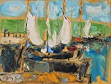 Boat painting Large Geclee canvas print Seascape Colorful Wall art Decor