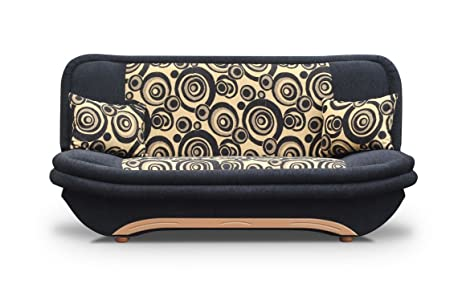 Black Sofa Bed Denis with bedding place and 'clic-clak' mechanism. Futon - Couch