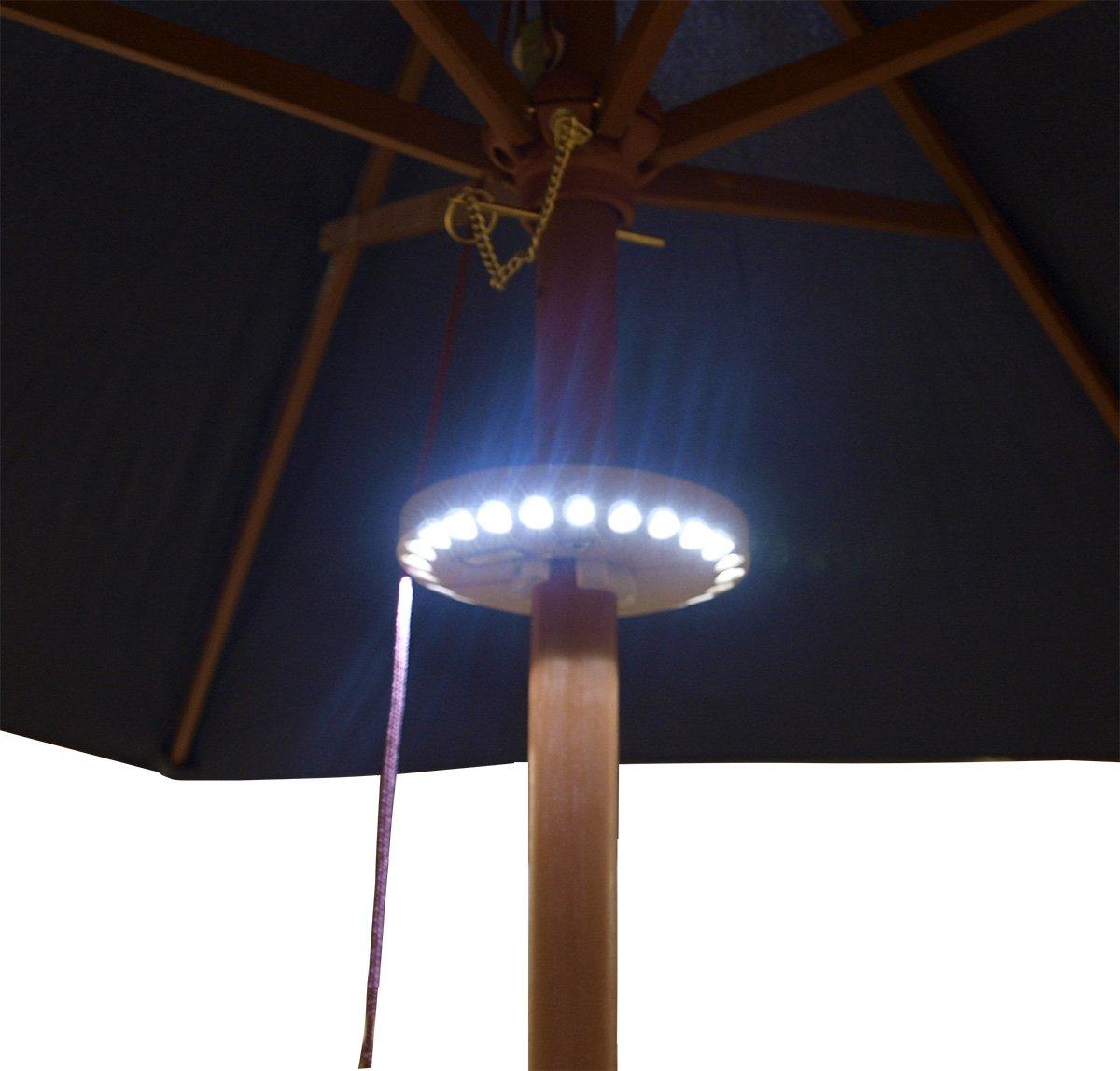 Sonnenschirmbeleuchtung mit 24 LED, Schirmstock 44-50mm, Batteriebetrieb, Farbe braun jetzt kaufen