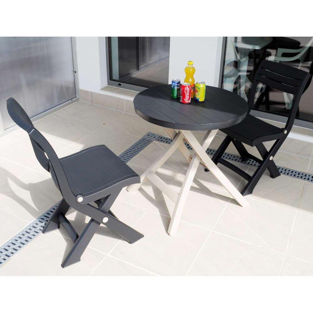 JUSThome Bistro Gartenmöbel Sitzgruppe Gartengarnitur Set 2x Stuhl + Tisch Taupe Anthrazit günstig kaufen