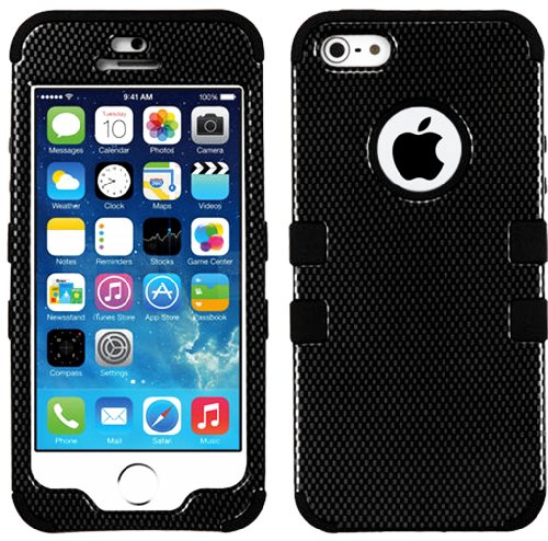 Mylife (Tm) Black - Carbon Fiber Series (Neo Hypergrip Flex Gel) 3 Piece Case For Iphone 5/5S (5G) 5Th Generation Itouch Smartphone By Apple (External 2 Piece Fitted On Hard Rubberized Plates + Internal Soft Silicone Easy Grip Bumper Gel)