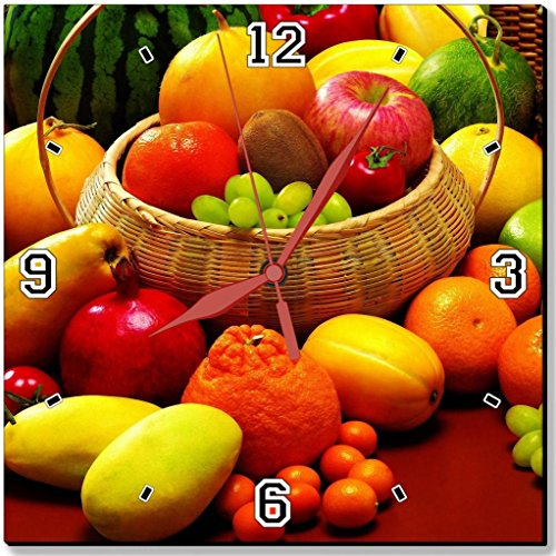 Fresh Healthy Fruit and Veggie in Basket Apple Pineapple Melon Pepper Grape Orange Tomato Mango Watermelon Punktail's Collections 10 Quartz Plastic Wall Square Clock Customized Made to Order