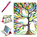 iPad AIR 2 Case, JCmax Protective Cover New Colorful Premium Flip Folio Style Foldable Side [Card Slots] [Durable Cover] [Kickstand Function] PU Leather Wallet Case Cover Smart Skin For Apple iPad AIR 2, Come with one free Stylus -[Floral Tree Pattern]