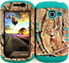 Straight Talk/net 10 Samsung Galaxy Discover Centura R740 S730G S738C Camo Mossy Real Deer on Teal Gel Cover Case