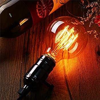 Edison Bulb 40W - Elfeland Vintage Antique Style Incandescent Light Bulbs - Squirrel Cage Filament - Classic Amber Glass - Dia. 80mm - E26/E27 Medium Base - Dimmable - 4 Pack