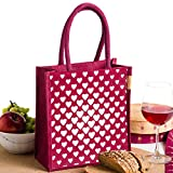 #10: H&B Women's Lunch bag/handbag/tote bag (Heart Square,Maroon, Size: 11x9x6 inches )