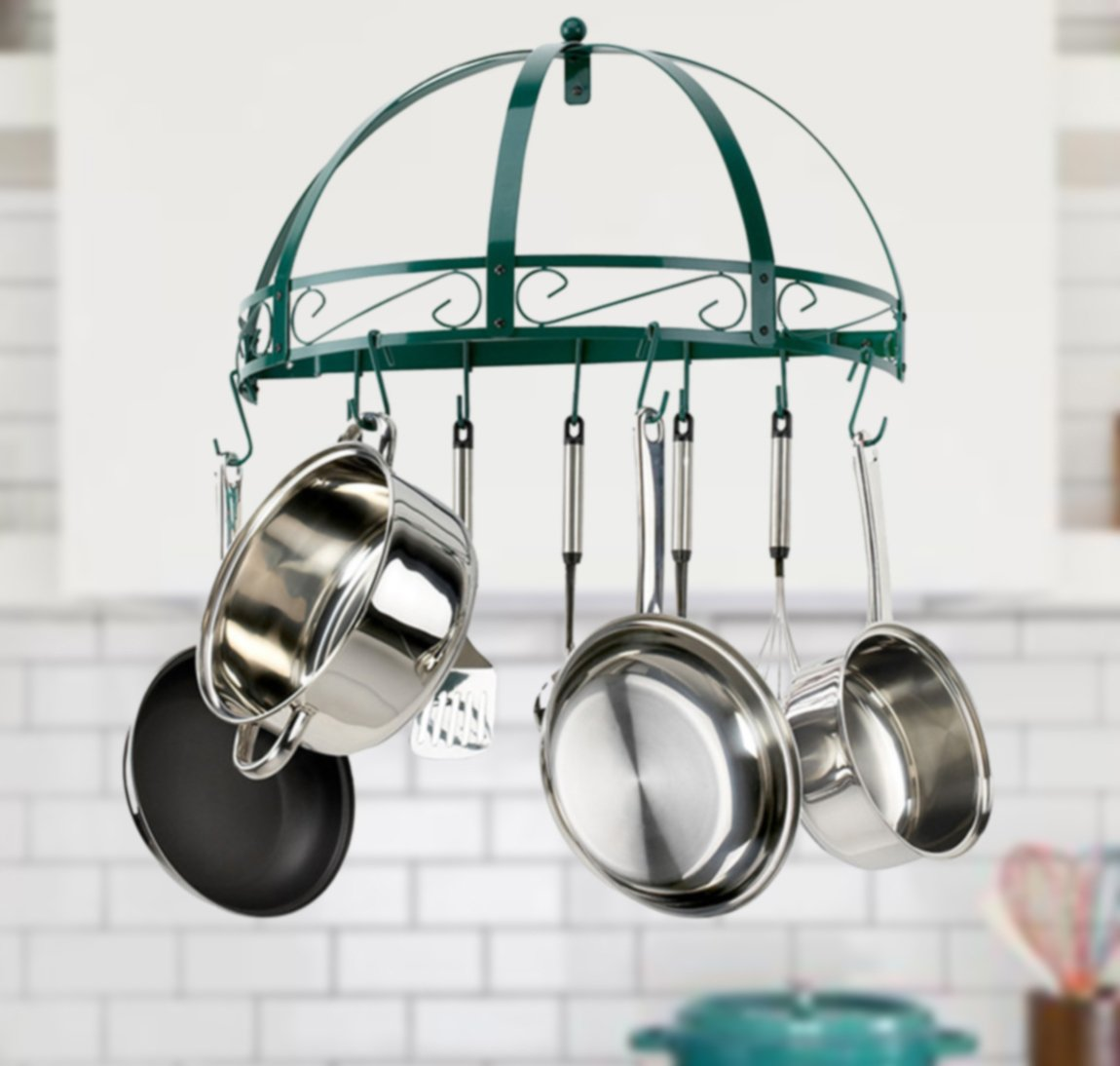 Kinetic 29142 Semi-Circle Wrought-Iron Wall-Mount Pot Rack, Green Enamel