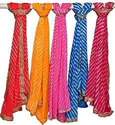 Exotic India Lot of Five Tie-Dye Leheria Dupattas from Jodhpur wi - Multicolored