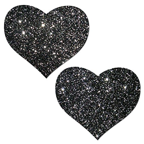Black Glitter Heart Nipple Pasties By Pastease O/S