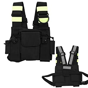 Rescue Vest, Radio Chest Harness, Universal Radio Carry Case,pouch Holster Vest Rig for Two Way Radio Walkie Talkie, Tactical Vest Kit