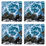 Waves Sea Power Rock Scenery Square Coaster (4 Piece) Set Fabric Rubber 5 Inch Size MSD Coaster Cup Mug Can Water Bottle Drink Coasters Stain Resistance Collector Kit Kitchen Table Top Desk