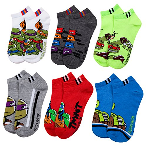 Boy's Ninja Turtles 6 Pack Knit Ankle No Show Socks (Six Pairs)