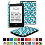 Fintie Amazon NEW-Kindle Paperwhite (2015) と Kindle Paperwhite (第6世代) カバー 最も薄く、最軽量の保護 レザー ケース マグネット機能搭載【Kindle Paperwhite All Generation専用】(花柄x桜(白))