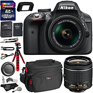 Nikon D3300 AF-P Digital SLR Camera with 18-55mm DX VR II Zoom Lens, Transcend 32GB Memory Card, Ritz Gear Camera Case, Polaroid Cleaning Kit & Accessory Bundle International Version No Warranty