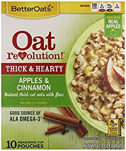 Oat Revolution! Old Fashioned Thick & Heart Instant Oatmeal - Apples & Cinnamon - 10 Pouches per 12.3oz