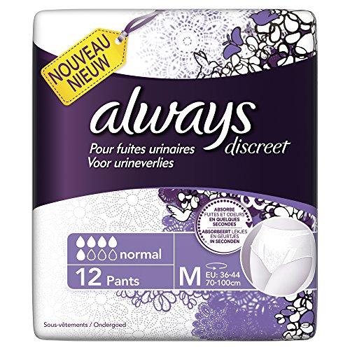 Always, Slip assorbenti Discreet per perdite urinarie, M, pacco convenienza (sufficiente per 1 mese), 8 confezioni da 12 pz.