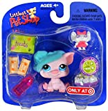 """Hasbro Year 2006 Littlest Pet Shop Exclusive Single Pack """"Sweet N' Neat Pets"""" Series Bobble Head Pet Figure Set #305 - Movie Night PIG with """"Mouse Toy"""", Bowl of Popcorn and Water Bottle (22939)"""