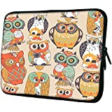 "Snoogg Faces Of Owl 15"" 15.5"" 15.6"" Inch Laptop Notebook Slipcase Sleeve Soft Case Carrying Case For Macbook Pro Acer Asus Dell Hp Sony Toshiba"