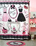 "Glamour Girl Pink, Black & White Shower Curtain - 70"" X 72"""