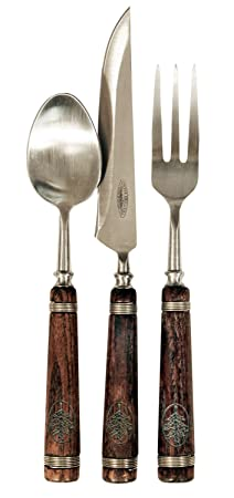 Cabin Themed 6-Piece Eating Utensil Set by Teton Grill Company