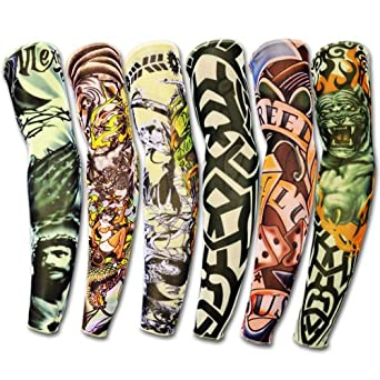 6 x rock fake tattoo arm sleeves stretch temporary funky for Tattoo sleeves amazon