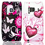 New black with pink Butterflies,flowers and white with pink hearts 2 case set for Nokia N8 (2pk)