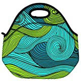 Snoogg Vector Abstract Hand Drawn Waves Texture Travel Outdoor Carry Lunch Bag Picnic Tote Box Container Zip Out Removable Carry Lunchbox Handle Tote Lunch Bag Food Bag For School Work Office