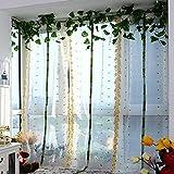 Pastoral ventana de tul bordado Sheer cortina para salón de cocina, panel 1