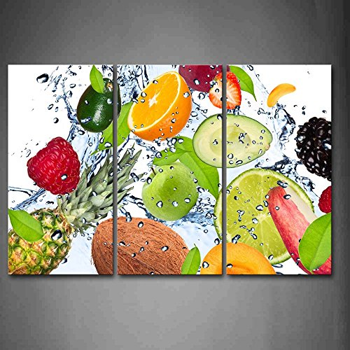 Colorful Various Fruit With Splash Water Wall Art Painting The Picture Print On Canvas Food Pictures For Home Decor Decoration Gift (Fruit Art compare prices)