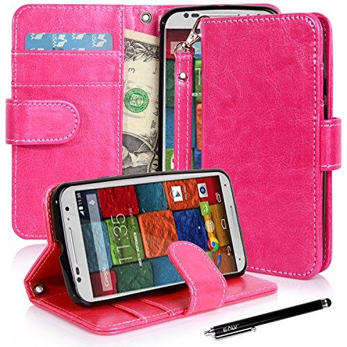 Moto X Case, Moto X (2Nd Gen.) Case, E Lv Motorola Moto X+1 Flip Case Cover - Deluxe Pu Leather Flip Wallet Case Cover For Moto X 2Nd Generation Case For Google Motorola Moto X With 1 E Lv Stylus - Hot Pink