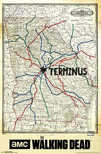 Trends International Walking Dead Terminus Map Rolled Poster, 22 by 34-Inch