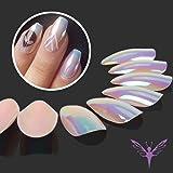 Ejiubas Press On Nails Chrome Stiletto Nail Tips Fake Nails with Nail Glue, 24 Pcs 12 Sizes (Color: nude)
