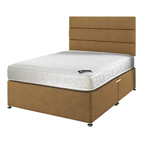 Happy Beds membound Micro Stepp Bonnell Federkern Matratze Memory-Schaum mit Gold Stoff Diwan Bettgestell/Ottoman Storage/liniert Kopfteil, Single, 3 ft, 90 x 190 cm, gold