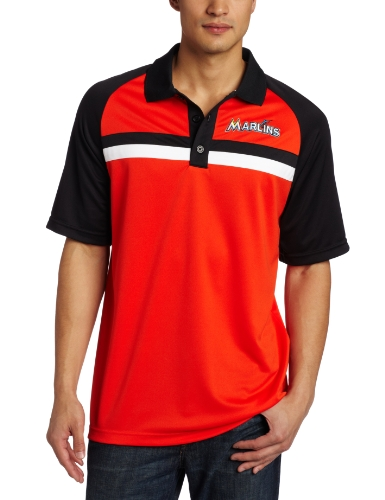 MLB Men's Miami Marlins Absolute Speed 3 Button Synthetic Raglan Polo (Pro Navy/Pro Scarlet, Large) at Amazon.com