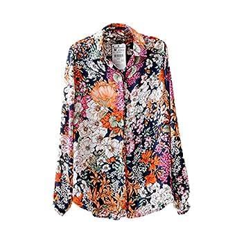 Fedi Elegant Womens Floral Print Blouse Chiffon Stand Collar Shirt
