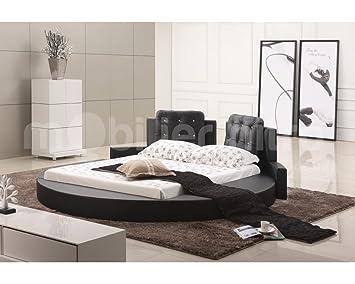 lit cuir rond design baltimore baltimore noir en 160x200 cm cm 160cmx200cm noir sans. Black Bedroom Furniture Sets. Home Design Ideas